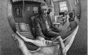 Escher_Mano con sfera riflettente